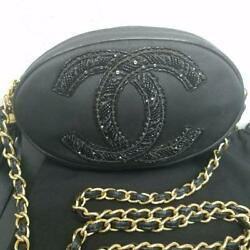 CHANEL Chain Shoulder Bag Rare Design Round Fringe Black Ex++