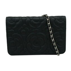 Chanel Camellia Embossed Calfskin Chain Wallet  Wallet Black Auth