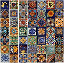 Box Of 100 4x4 Mexican Talavera Tile Hand Painted Mixed Desings 50 D