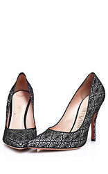 Palter Deliso Kiss Black WSilver Glitter Heels Size 39 $995 NWT Made IN Italy