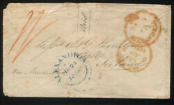 VERY RARE 1856 EGYPT to IRELAND Early Stampless Cover-2 Rare Alexandria Cancels
