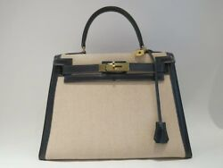 Authentic Vintage HERMES kelly 28 from 1980 in Navy Blue and Toile H