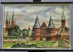 Rollable Wall Chart Poster City Townscape At The Holsten Gate Luebeck Germany
