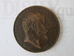 1902 One 1 Lg Penny Vintage Great Britain Coin Copper Composition   Is314