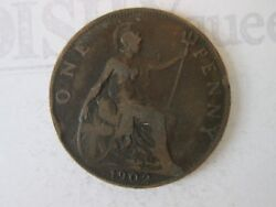 1902 One 1 Lg Penny Vintage Great Britain Coin Copper Composition   Is315