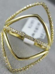 Modern Pave Diamond 14k Yellow Gold Wide Open Multi Band Marquise Ring R31597y1