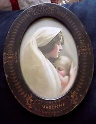 Vintage Madonna-partridge Picture W/oval Metal Frame..2072 By Taber Prang Art Co