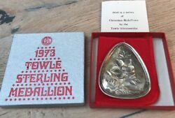 1973 Towle Sterling Silver Medallion 3rd In Christmas Series Laying Hens And Rose