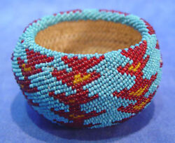 1930's Nevada Paiute Beaded Basket 3 5/8 D. Glass Seedbeads Over Coiled Willow