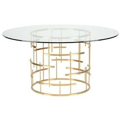 59 W Dining Table Geometric Brushed Gold Stainless Steel Base Tempered Glass