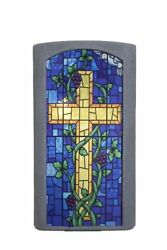 Church Rostrum Presentation Pulpit Wood Christian Lectern Stained Glass Front