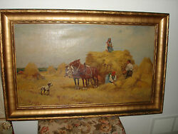 Estate Old Poland Oil Painting On Canvas The Grain People Horses Dog Setkowicz
