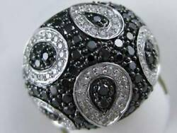 Modern Pave Black White Diamond 14k Gold Puff Cluster Band Cocktail Ring R38788w