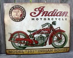 Motorcycle Sign Indian Scout Model 101 Since 1903 Metal Collectible New