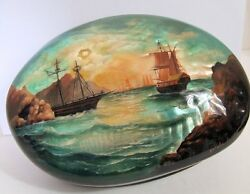 Handpainted One Of A Kind Fedoskino Russian Lacquer Box Ships On The Open Sea
