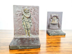 Vintage Metal 1774 Minute Man Liberty Bell Bookends 1910s 20s Library Book Ends