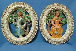Vintage Pair Of Oval Shaped Chalkware Wall Pictures Victorian Couple 15 1/2 T