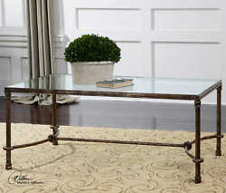 48 W Coffee Table Tempered Glass Forged Iron Rustic Curved Stretcher