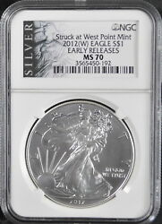 2012-w Silver American Eagle Ngc Ms70 Early Releases Struck At West Point Mint