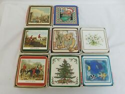 Pimpernel 8 Sets Of 6 Traditional Coasters Hunting Holiday Fish Floral Danish