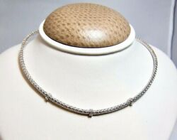 Roberto Coin 18k White Gold And Diamond Silk Weave Woven Necklace New