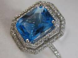 Modern 3.32ctw Diamond Blue Topaz 14k Gold Double Halo Pave Cocktail Ring R5049
