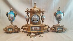 Sevres Style 3pcs. French 19c Bronzed Spelter And Porcelain Clock Set