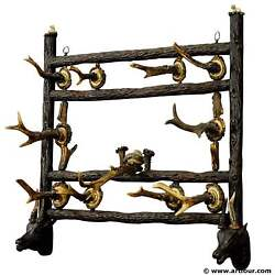 A Black Forest Carved Coat Rack With Antler Carvings And 10 Duck Calls Ca. 1900
