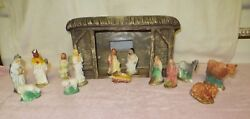 Vintage Doc Holiday Molds Ceramic Nativity Manger Stable And 14 Plaster Pieces
