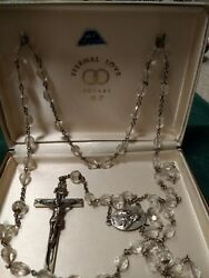 Vntge Sandf Swift And Fisher Rosary Eternal Love Sterling Silver And Crystals Org Box
