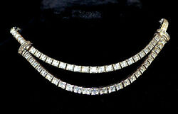 Dorsons 925 Sterling Silver And Rhinestone Necklace Choker 40's
