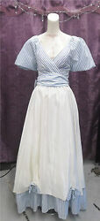 Victorian Sty Blue White Puff Sleeve Striped Theatre Showboat Gown Dress Sz Sm