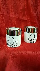 Tea Light Candle Holders White W/ Multi Colored Rim And Scrolled Design