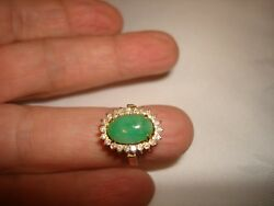 Vintage Collectible Natural Green Jade Diamond 18k Yellow Solid Gold Ring Size 6