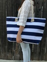 Extra Large Canvas Tote Bag Beach Bag Travel Picnic Gym Navi and White Stripes $22.80