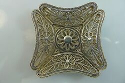 Antique / Vintage Solid Silver Filigree Made Beautifully Decorated Tray / Plate