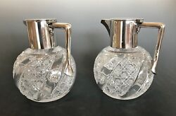Edwardian Silver Plate Mounted Glass Claret Pitchers Set Of 2 Grinsell And Sons