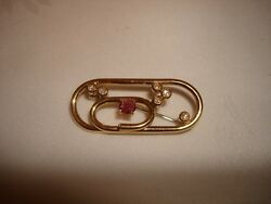 Vintage Beautiful Collectible 18k Yellow Gold Diamond Ruby Oval 3d Pin Brooch