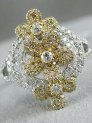 Large Pave Diamond 18k Wyr Rose Gold Multi Flower Circle Cocktail Ring Mbr6735y
