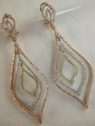Massive Pave Diamond 14k Wyr Rose Gold Hanging Marquise Halo Earrings Be11757tt