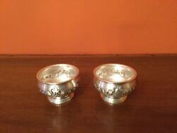 Vtg Sterling Master Salt Cellars 2 Hand Chased Repousse By M Fred Hirsch Co.