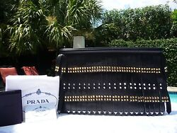 Nwt Prada Black Nappa Leather Gold Studded Fringe Clutch-2895-rare And Sold Out