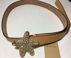 New With Tags Leather Jeweled Starfish Buckle Belt Size S