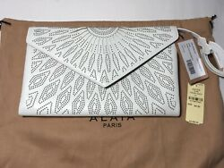 New With Tags Alaia Beaded Laser-cut Clutch Bag White