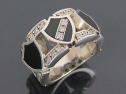 Authentic Justin Davis Onyx And Sterling Silver 925 Heritage Ring Us Size 6.5