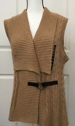 Chaps Womens Fashion Sweater Cable Knit Camel Light Brown Sleeveless XL Cotton