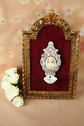French 19th C Holy Water Font Vessel Wood Frame Font On Velvet Biscuit French