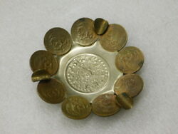 Vintage South American Coin Ash Tray With Mayan Center Piece 1970's
