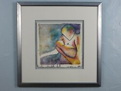 1995 Todd Abbott Winters Mothers Hold Framed Watercolor Painting