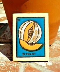El Melon Loteria Red Clay Tile 3 In X 4 In Mexico With Free Shipping